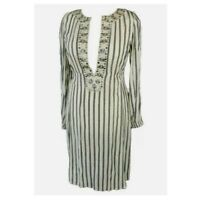 Noa Noa Cream Black Striped Boho Ethnic Artisan Indian Kaftan Dress Size L