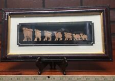 Framed 7 Hand Carved Wood Camels Shadowbox New In Plastic Stock 382