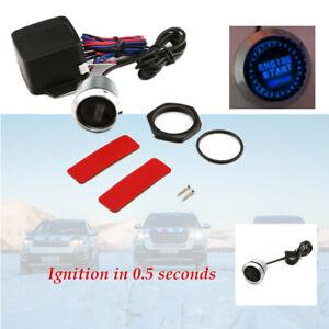 12V Car Blue LED Keyless Entry Push Button Switch Lgnition Starter Relay Box