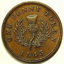 1843 Nova Scotia Colonial Token NS 2D1 Penny #6714