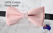 Men Women 100% Cotton Matte Baby Pink Solid Craft Bow Tie Bowtie Wedding Party