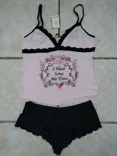 "NWT NEW La Senza- ""Me Time"" pink & black short pyjamas- Size 14"