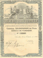 Islands of Guadalquivir > 1926 Seville Spain Islas de bond certificate