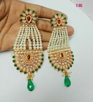 Indian Handcrafted Studded Green Earring Set Bollywood Bridal Fashion Jewelry