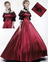 Robe bal princesse gothique victorien baroque satin lacé dentelle rouge Punkrave