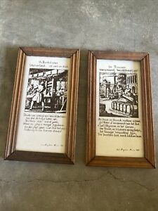 decorative Tiles!! The Book Printer And The Brewer! Cute Tile Set! - K
