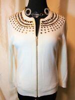 EUC Michael Kors XS/S Ivory Gold Sequins Zip 3/4 Sleeve Lined Cardigan Sweater