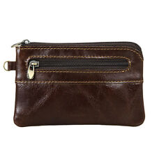 Men's Women's Genuine Leather Coin Purse Zipper Wallet Card Holder Vintage Retro