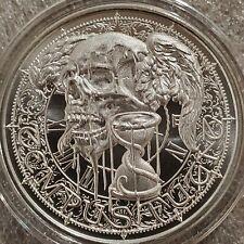 "1 oz .999 Silver coin skull Tempus Fugit Latin Allure Memento Mori ""Time Flies"""