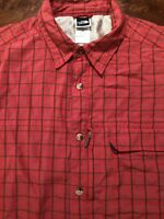 The North Face Men's L Casual Shirt Red Plaid Short Sleeve Zip Modal Polyester
