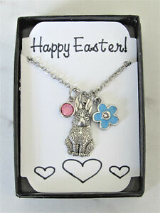 Bunny Necklace with Enamel Flower Charm & Birthstone Bead, Gift for Daughter