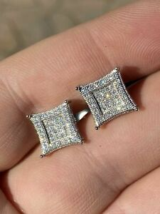 Mens Real 925 Solid Sterling Silver Iced Kite Diamond Earrings Studs 10mm HipHop