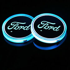 2PCS Fit For Ford LED Car Cup Holder Pad Mat Auto Atmosphere Lights Deco Gift