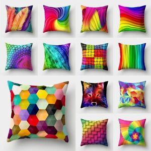 """18"""" Rainbow  Polyester Pillow Case Sofa Car Waist Throw Cushion Cover Home Decor"""