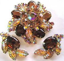 JULIANA BOOK PIECE! Molded AB Glass Leaves Rhinestone Pin Earring Set