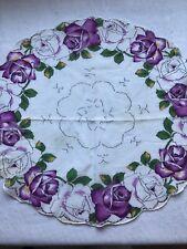 "Kb Hankie Handkerchief Round Purple Roses - Floral In Circles 12"""
