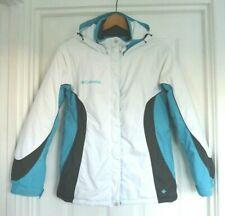 Womens Columbia Ladies Winter Ski Jacket White Grey Blue Size Small 10 Worn Once