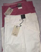 Lane Bryant NWT Venezia Pink & White Summer Cropped Pants Lot Of 2 Sz 16