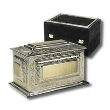 Large/Adult 225 Cubic Inches Solid Brass Cremation Urn w. Velvet Case for Ashes