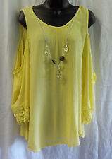 Knapp Studio Blouse Size L NWT Yellow Cold Shoulders 100% Rayon Necklace Crochet