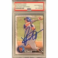 Pete Alonso Autographed Mets 2016 1st Bowman Baseball Rookie Card RC PSA DNA