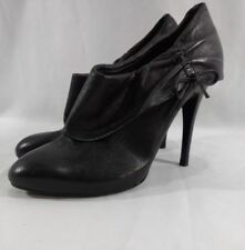 Guess Leather Ankle Boots Size 8 Black Stacked Slim Heel Shootie Pumps