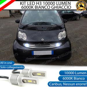 KIT LED FENDINEBBIA SMART FORTWO 450 LAMPADE LED H3 BIANCO XENO 10000 LUMEN