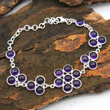 Round Cab Purple Amethyst Gemstone Solid 925 Sterling Silver Jewelry Bracelet 8""