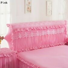 1X Bed Headboard Slipcover Lace Floral Ruffle Stretch Dustproof Cover Home Decor