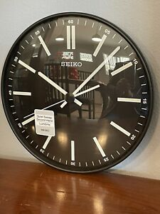 Seiko Contemporary Black Quiet Sweep Wall Clock Luminescent QXA521JLH 11 inch
