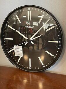 Seiko Contemporary Black Quiet Sweep Wall Clock Luminescent QXA521JLH 11 inch