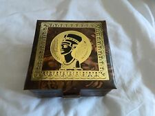 "Egyptian Camel Leather Jewelry Box Queen Nefertiti 5""X 5"" # 312 With Key"