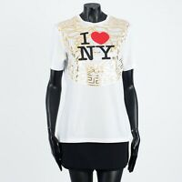 VERSACE 450$ White Cotton I Love NY & Medusa Print T-Shirt