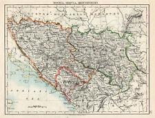 Map Of Bosnia Servia Montenegro W & AK Johnston 1902 Original Antique