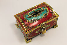 Vintage Tin Cash Coin Box Decorated With Pad Lock 1960's