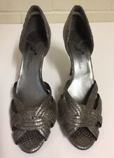 Ladies Pierre Fontaine Bronze Open Toe High Stiletto Heel Shoe Size 8 GC