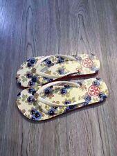 Tory Burch Thin Enamel Printed Flip Flops Sandal Thong Flat sz 8 Cream White-NEW