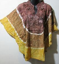Top Fits XL 1X 2X Plus Tunic Caftan Tie Dye Brown Gold Poncho  NWT G78B