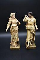 """Ernst Wahliss Austrian Turn Teplitz Amphora Othello & Desdemona 9 3/4"""" Figurines"""