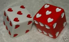 "1"" HUGE RED AND WHITE HEARTS OPAQUE DICE"