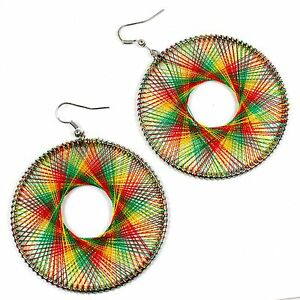 Rasta Rastafari Empress Irie Dream Catcher Earrings Reggae Marley One Love XL