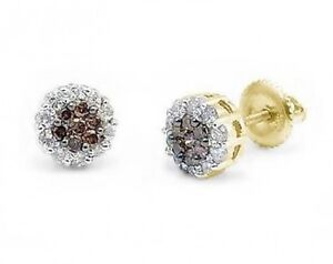 14K Yellow Gold Chocolate Brown & White Diamond Earrings Cluster Studs .50ct