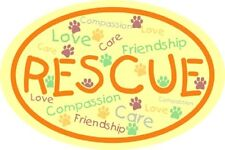 Love, Compassion & Care Rescue Paw Print Oval Magnet
