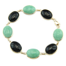 14K Yellow Gold Scarab Bracelet With Statement Size Gemstones