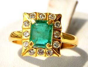 CERTIFIED GIA GG FABULOUS 18KT GOLD COLUMBIAN EMERALD DIAMOND RING