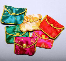 "ONE DOZEN (12 Pieces) 2.5""x2"" Assorted Color Brocade Pouches w/Zip"