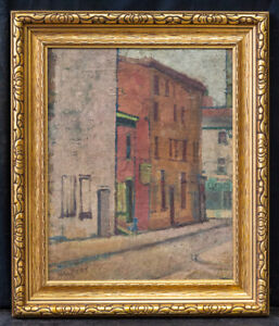 """Listed Artist Samuel Halpert (1884 - 1930) Oil """"Street Scene"""" Signed."""