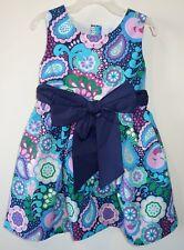 NIP Kelly's Kids Allison Navy Paisley Sash Dress Girl's Size 5-6 Year