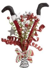 Red Green Silver Elf Legs Ribbons & Stars Glitter Tree Topper SPRAY Christmas