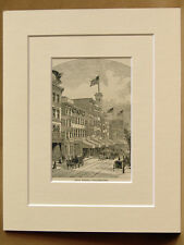 ARCH STREET PHILADELPHIA USA ANTIQUE MOUNTED ENGRAVING FROM 1876 PUBLICATION
